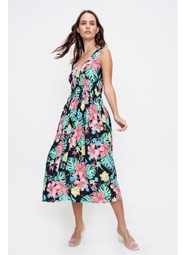 Pink Park Ön Arka V Beli Gipeli Çiçek Desenli Dokuma Elbise CH00004 Siyah